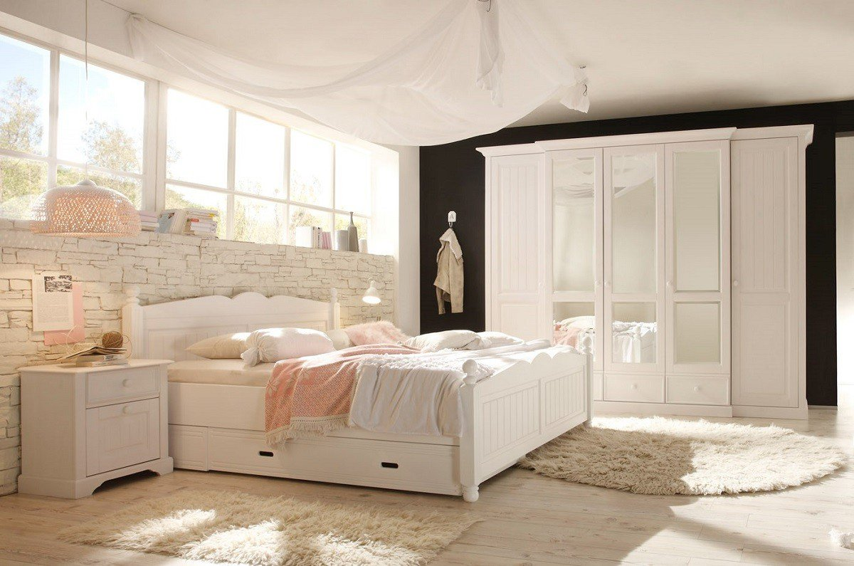 Dreams4Home Schlafzimmer Set 'Dreamy', 5trg. Kleiderschrank, Bett 180 x 200 cm, 2 x Nachtkonsole, ohne Matratze, ohne Lattenrost, in Kiefer massiv, weiß lackiert