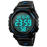 Men's Digital Sports Watch LED Military 50M Waterproof Watches Outdoor Electronic Army Alarm Stopwatch Blue (Color: Blue)