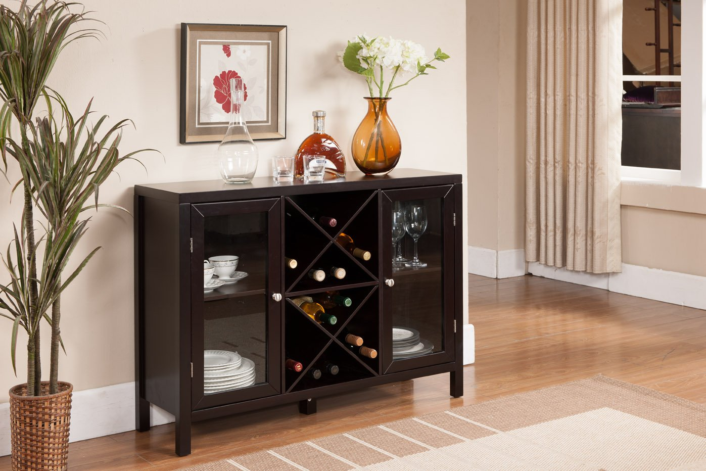 Superb img of  Espresso Finish Wood Wine Rack Console Sideboard Table With Storage with #9C3F30 color and 1397x932 pixels
