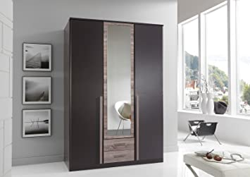 Lava Oak German Made Wardrobe in 3 Doors with Mirror and Drawers