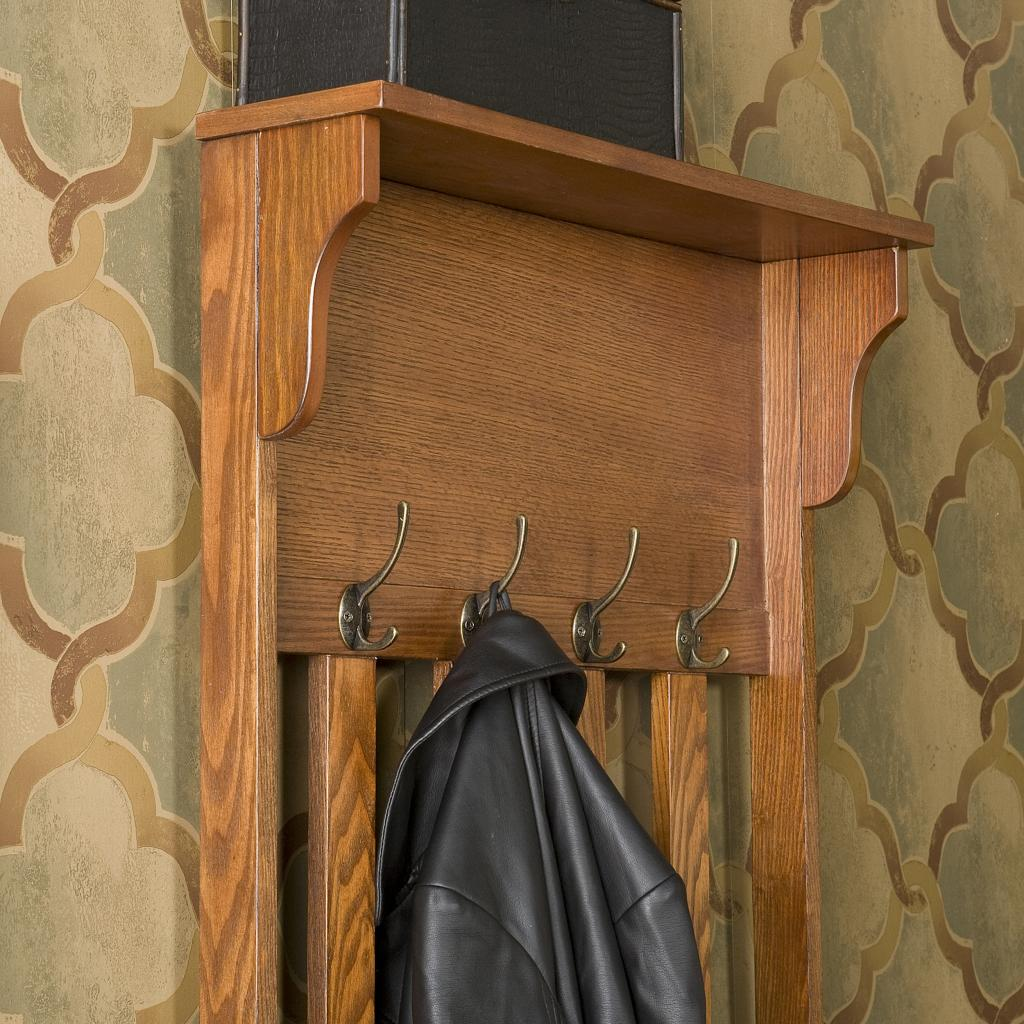 Entryway Bench Seat Hall Tree Coat Rack Stand Oak Wood