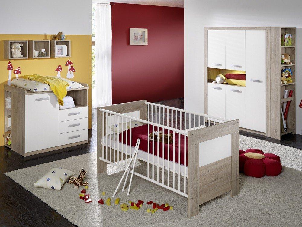 Babyzimmer Set 3 tgl. Eiche sägerau Kinderbett Wickeltisch Kleiderschrank
