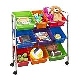 Seville Classics 9-Bin Organizer Cart, Multicolor (Renewed) (Color: Multicolor, Tamaño: 9 Bin)