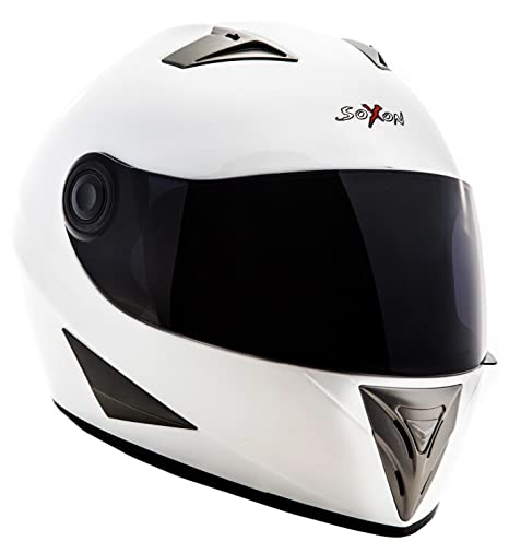 SOXON ST-550 Snow - casque Fullface Racing moto Cruiser blanc - Taille: XS S M L XL