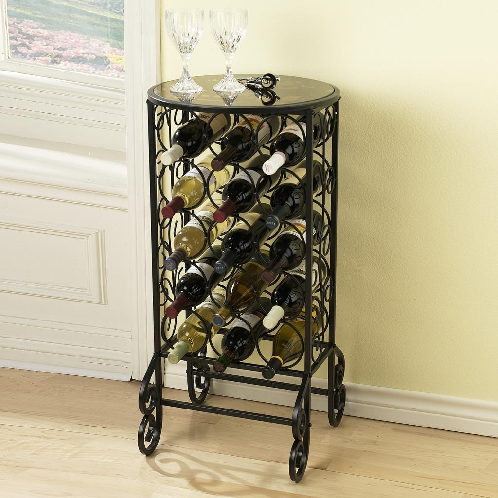 Amazon Com Sei Glass Top Wine Table Free Standing Wine