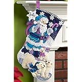 Bucilla 18-Inch Christmas Stocking Felt Applique Kit, 86653 Arctic Santa (Color: Red, White, Green, Yellow, Tamaño: 18