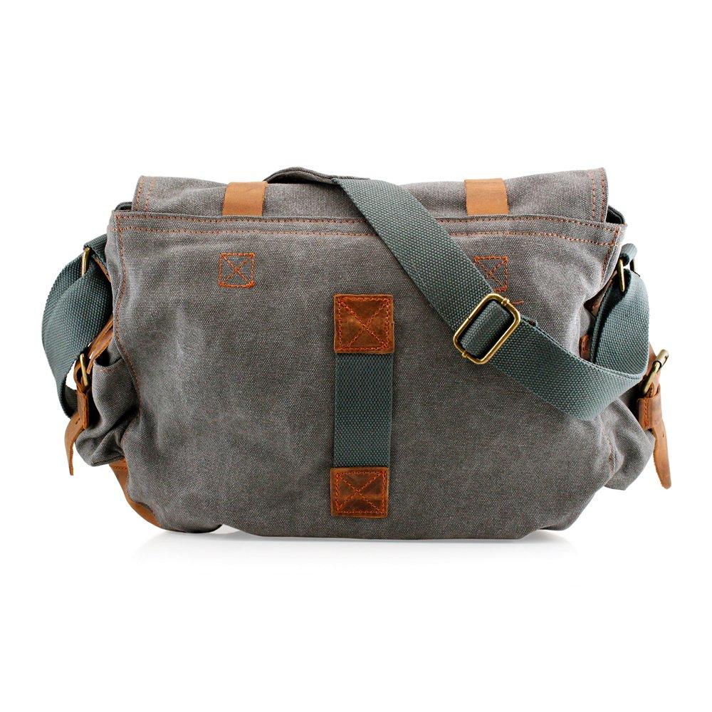 GEARONIC TM Men's Vintage Canvas and Leather Satchel School Military Shoulder Bag Messenger 4