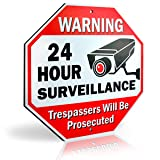 Ultra Reflective Warning 24 Hour Surveillance No Trespassing Metal Sign   with for Home Business Video Security CCTV Camera   12