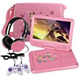 KOCASO 9 INCH Kids Portable Foldable CD/DVD Player W/ Matching Headphones. 2 FREE Game Controllers, Rechargeable Battery, Swivel Screen, SD Card Slot, USB Port, AV Jack Personal DVD Player [PINK]