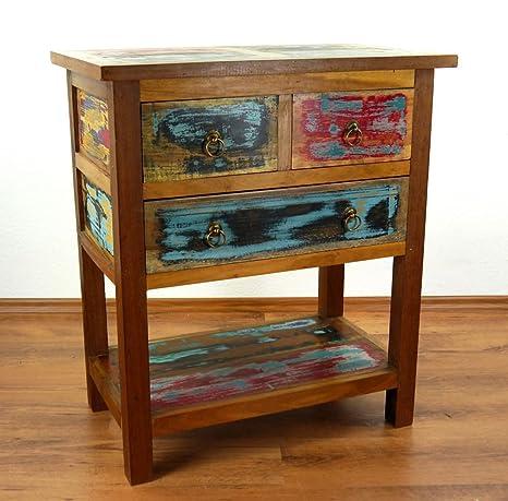 Teakholz Kommode aus Java | Sideboard | Recyceltes buntes Bootsholz | Asiatisches Highboard | Designer Möbel aus Bootsholz | Massivholzkommode der Marke Asia Wohnstudio