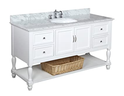 Beverly 60-inch Single Sink Bathroom Vanity (Carrara/White ...