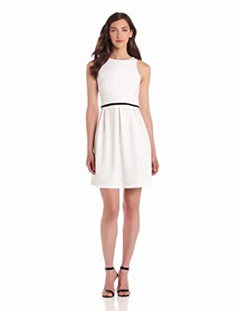 Donna Morgan Women's Sleeveless Scuba Dress with Full Skirt and Set In Waist, White/Black, 10