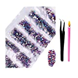 2800Pcs SS4-SS16 Mixed Sizes AB Crystal Rhinestones - Color Super Shiny Nail Art Flatback Crystals with Wax Rhinestone Pen Tweezers for 3D Nail Art Decorations Face Makeup Phone Shoes (Purple Red AB) (Color: Purple Red AB, Tamaño: one size)