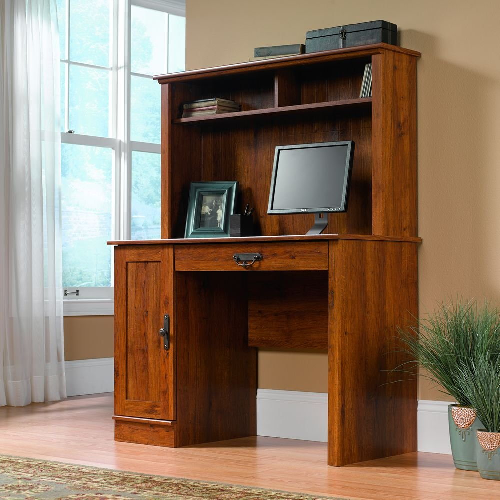 Sauder Harvest Mill Computer Desk With Hutch Abbey Oak