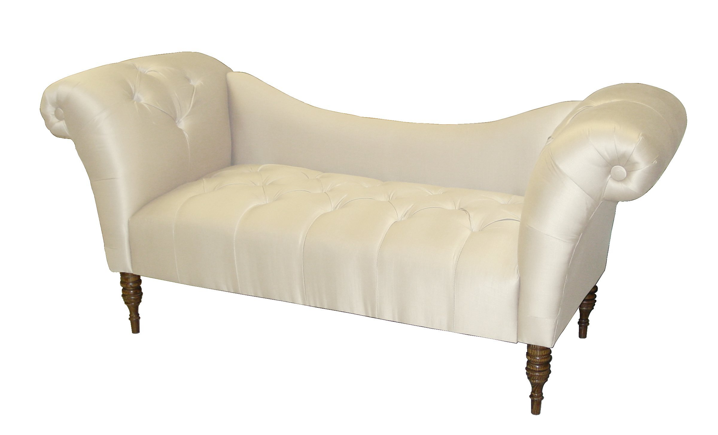 roslyn double arm tufted chaise lounge by skyline furniture in parchment shantung. Black Bedroom Furniture Sets. Home Design Ideas