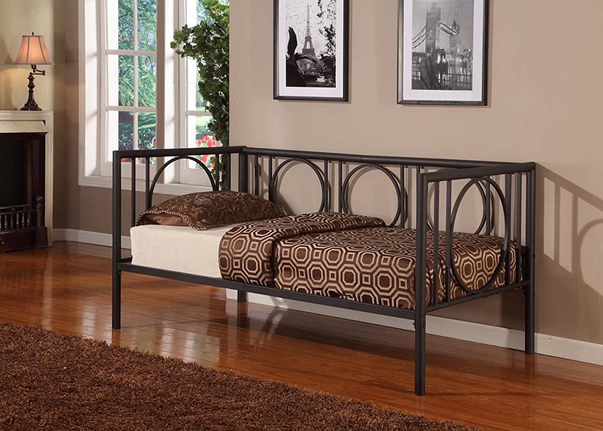 Texture Black Metal Twin Size Day Bed (Daybed) Frame With Rails