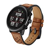 for Amazfit Stratos Smart Watch 2/2S, Owill Leather Watch Band Wrist Straps Bracelet (Fits 5.5