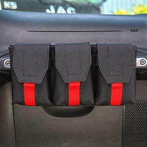 Interior Accessories CheroCar Auto Passenger Storage Organizer Bag Co-Pilot Center Console Grab Handle Accessory Bag for All Jeep Wrangler CJ YJ TJ LJ JK JKU JL JLU JT for Jeep Renegade 2014-2020