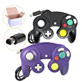 Poulep NGC Wired Controller for Wii Gamecube (Black and Purple) (Color: Black)