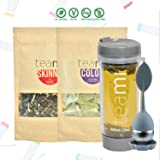 30 Day Detox Tea Kit for Teatox & Weight Loss to get a Skinny Tummy by Teami Blends   Our Best Colon Cleanse Blend to Raise Energy, Boost Metabolism, Reduce Bloating! (Big Grey Tumbler & Infuser) (Tamaño: Kit + 600ML Tumbler)