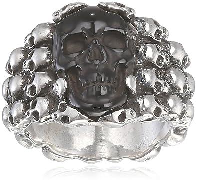King Baby Rainbow Obsidian Carved Skull in Silver Skull Frame
