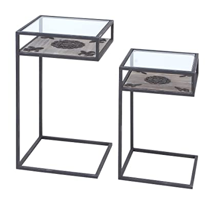 Plutus Brands Accent Table with Tabletop Firmly Attached, Set of 2