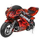 XtremepowerUS Gas Pocket Bike Motorcycle 40cc 4-Stroke Engine (Red Flame) (Color: Red Flame)