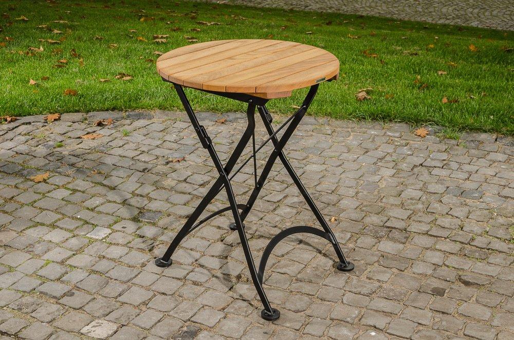 CLP handgefertigter runder Teak Klapptisch MINTO, Durchmesser Ø 60 cm, in romantischem Design, wetterfest schwarz