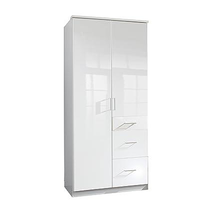 Wimex 243624 Clack Armoire 2 Portes Battantes Bois Blanc/Laqué Blanc Cassé 58 x 90 x 198 cm
