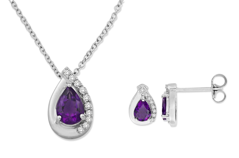 MIORE Damen-SchmuckSet Ohrringe und Anhänger 9 Karat (375) Weißgold Tropfen Amethyst und Diamant USP028W günstig kaufen
