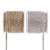 BENECREAT 2 Rolls 10 Yard 3.5mm Crystal Rhinestone Close Chain Clear Trimming Claw Chain Sewing Craft About 2100pcs Rhinestones - Crystal (Silver & Gold Bottom) (Color: Crystal (Silver & Gold Bottom), Tamaño: 3.5mm)