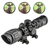CVLIFE Hunting Rifle Scope 3-9x32 AOL Red and Green illuminated Tactical Gun scope with 20 mm Mounts (Color: Black)
