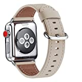 WFEAGL Compatible iWatch Band 42mm 44mm, Top Grain Leather Band Replacement Strap for iWatch Series 4,Series 3,Series 2,Series 1,Sport, Edition (42mm 44mm,Ivory White Band) (Color: Ivory White Band+Silver Buckle, Tamaño: 42mm 44mm)