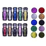 JAWM 10 Bottle Ultra Tiny DIY Glass Caviar Beads Nail Art Rhinestones Kit Multi-Color Nail DIY Decorations, 100000 Pcs beads (Color: Multi-colored, Tamaño: small)