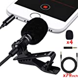 Lavalier Lapel Microphone 3.5mm Mic Pro for iPhone Android Smartphones,Noise Cancelling Mic Recording/Video Conference/Studio/Interview/Youtube/Podcast/Voice Dictation