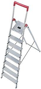 Hailo 8938001 AluSicherheitsHaushaltsleiter L50  8 Stufen mit Sicherheitsbügel  BaumarktKundenbewertung: