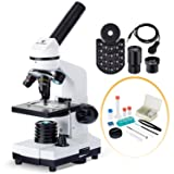 BNISE 40X-1000X Microscope for Kids and Student, Lab Compound Monocular Microscopes with Illumination Dual LED, Biological Microscope with Microscope Accessories Set for Beginners