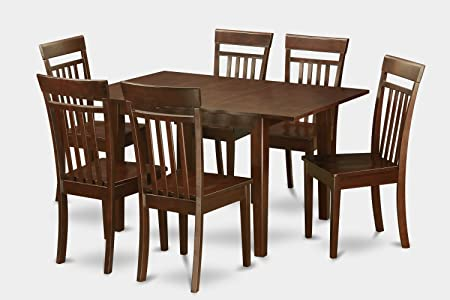 East West Furniture MLCA7-MAH-W 7-Piece Kitchen Nook Dining Table Set