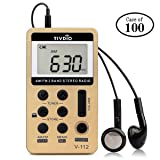 Case of 100,TIVDIO V-112 Portable AM FM Stereo Radio with Earphones Pocket Mini Digital Tuning Rechargeable Battery LCD Display for Walk(Gold) (Color: Gold)