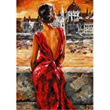 Moohue Modern Embroidery Pattern Oil Painting Beautiful Sexy Woman 14CT Counted Cross Stitch Kits DMC Cotton Thread Craft Supplies (Beautiful Sexy Woman) (Color: Beautiful sexy woman)