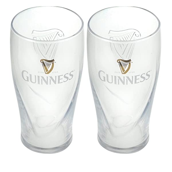 Guinness Gravity Pint Glass (2 Pack) (Color: Clear, Tamaño: One Size)
