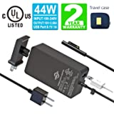 Surface Pro Surface Laptop Charger [UL Certified Updated Version] 44W 15V 2.58A Power Supply Compatible Microsoft Surface Pro 6 7 Pro 4 Pro 3,Surface Laptop 2,Surface Go,Surface Book with Travel Pouch (Color: Black)