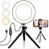 Selfie Ring Light 6 with Tripod Stand & Cell Phone Holder Desktop LED Lamp with 3 Light Modes & 11 Brightness Level for YouTube Video/Live Makeup/Pho