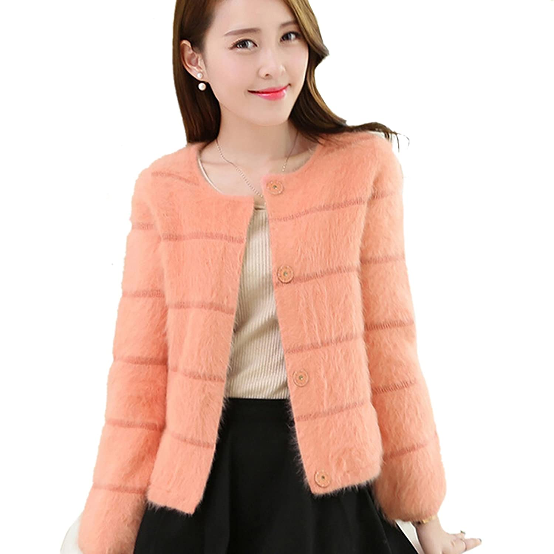Tasso Damen Jacke Bolero aus kunstlichem Fuchspelz mit voll langer Armel Strickjacket Outfit Outwear jetzt kaufen