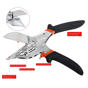 GARTOL Miter Shears- Multifunctional Trunking Shears for Angular Cutting of Moulding and Trim, Adjustable at 45 To 135 Degree, Hand Tools for Cutting Soft Wood, Plastic, PVC, with Replacement blades (Color: Black)