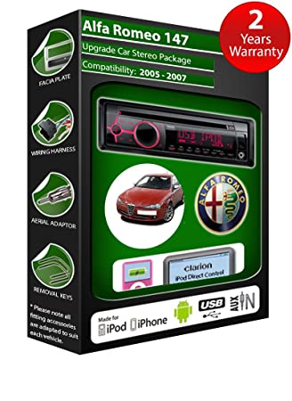 Alfa Romeo GT de lecteur CD et stéréo de voiture radio Clarion jeu USB pour iPod/iPhone/Android