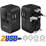 Universal Plug Adapter TENACHI Worldwide Travel Plug Converter Adaptor All In One Wall Charger With 2 USB 2.1A Works 110 240V for EU UK US AU Plugs (Color: 2USB (2.1A))