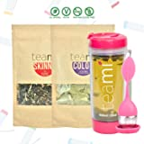 30 Day Detox Tea Kit for Teatox & Weight Loss to get a Skinny Tummy by Teami Blends   Our Best Colon Cleanse Blend to Raise Energy, Boost Metabolism, Reduce Bloating! (Big PinkTumbler & Infuser) (Tamaño: Kit + 600ML Tumbler)
