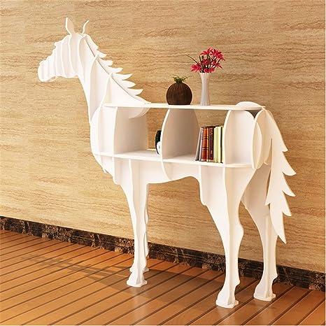 WSZYD estantes librería de madera Caballo creativo decorativo arte tema del hotel KTV de planta adornos ventana 139 * 33 * 127cm ( Color : Blanco )