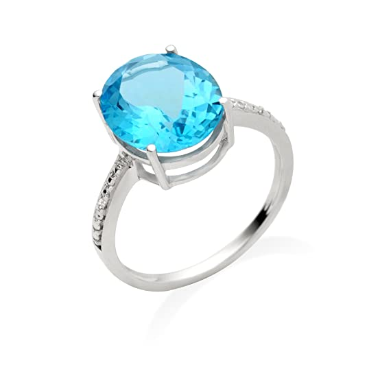 Miore Jm039R4W 9Ct White Gold Ladies Oval - Shaped Blue Topaz & Diamond Ring